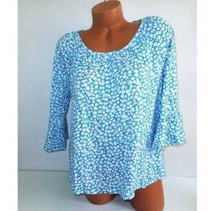 Michael Kors Flutter Sleeve Top XL aqua blue white